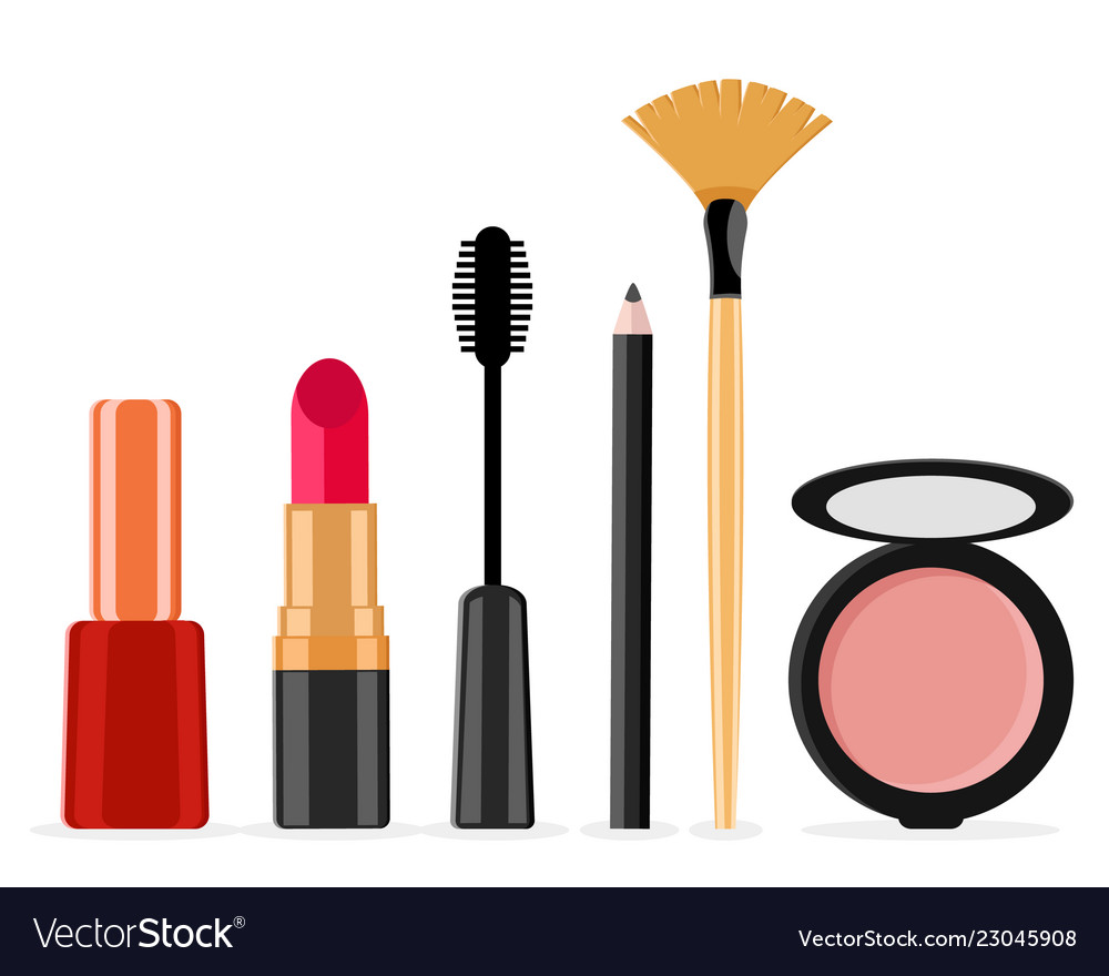 Makeup kit on a white care female face vector image