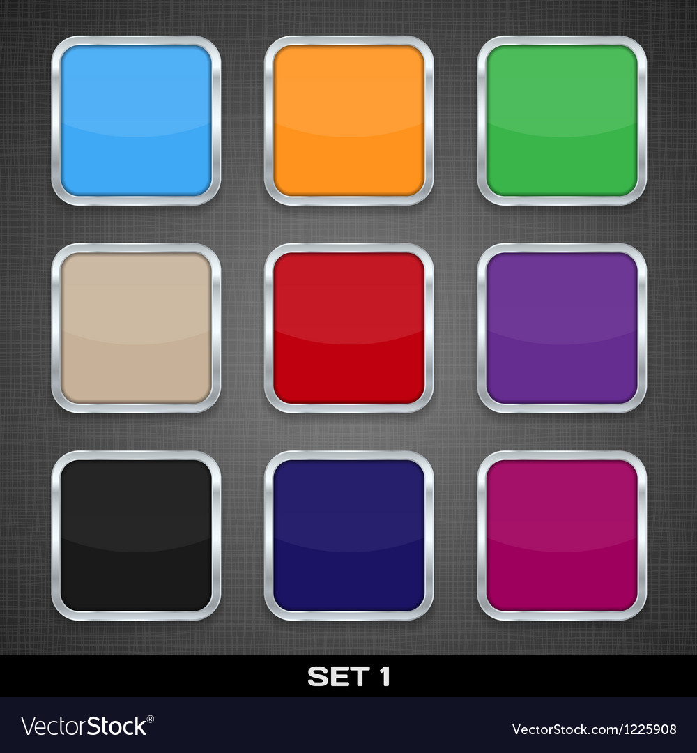 Set Of Colorful App Icon Templates Buttons
