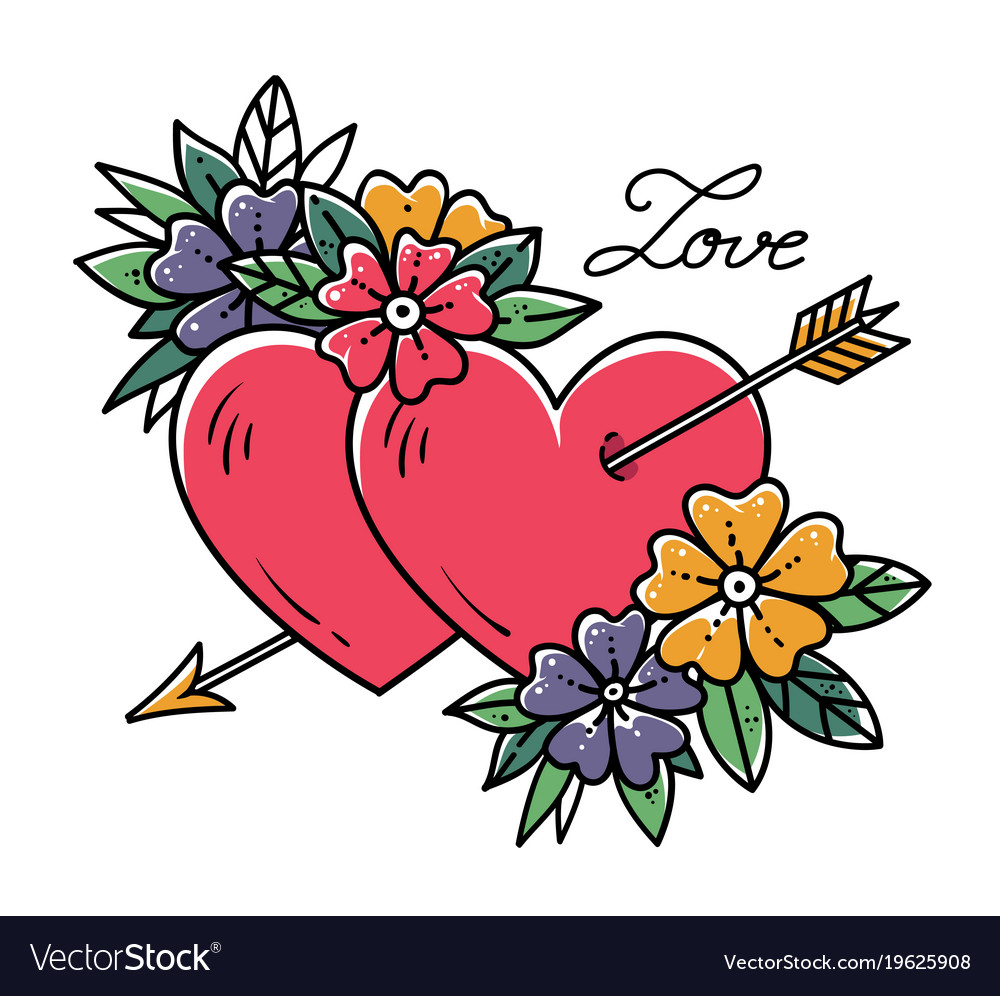 Tattoo Two Hearts Pierced By Arrow With Flowers Vector Image