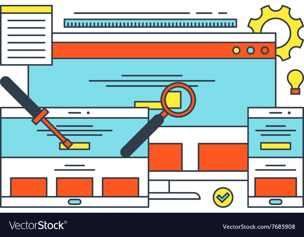 Thin Line Flat Design Concept for Search Engine vector image