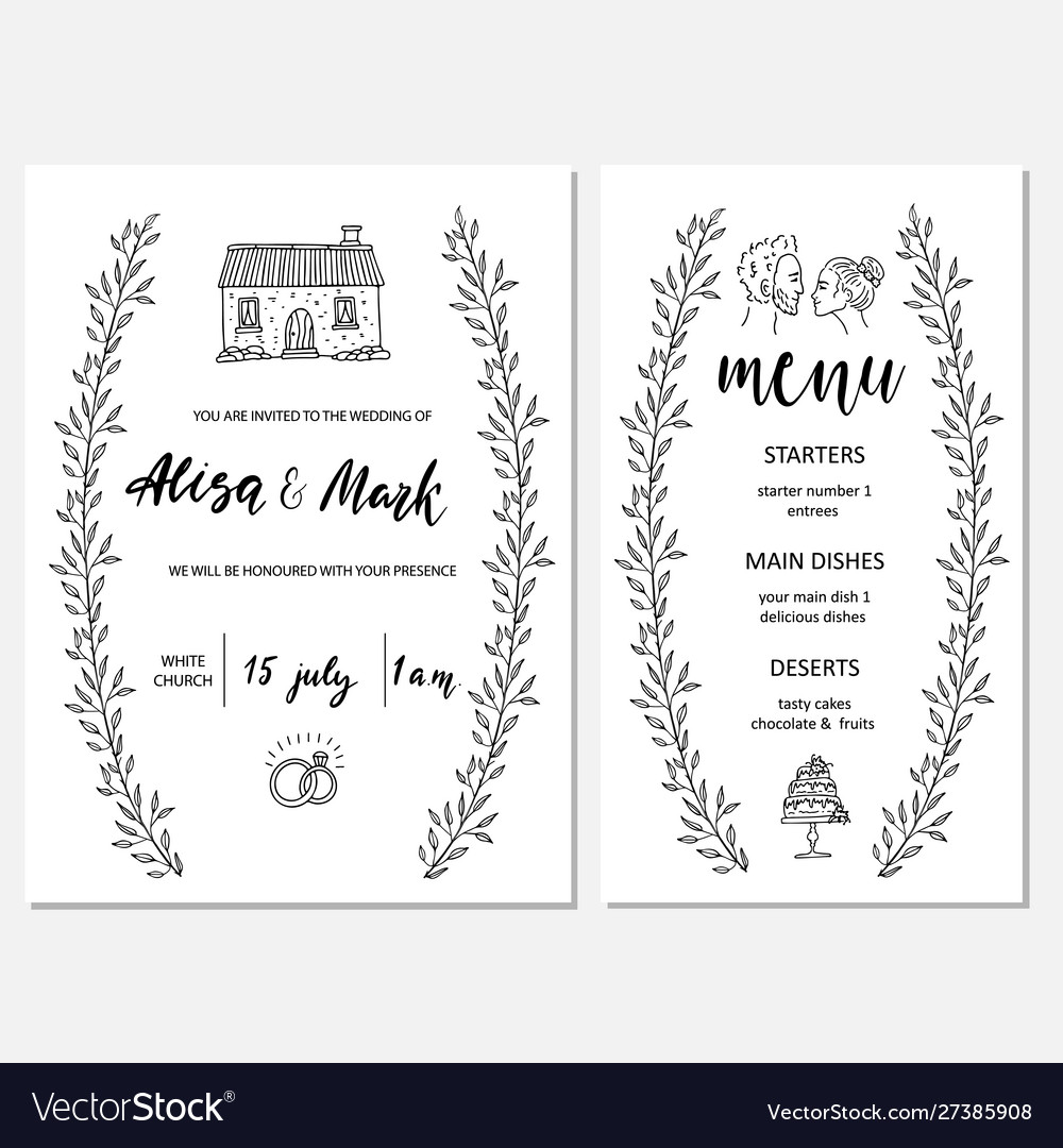Wedding invitation card with map and menu