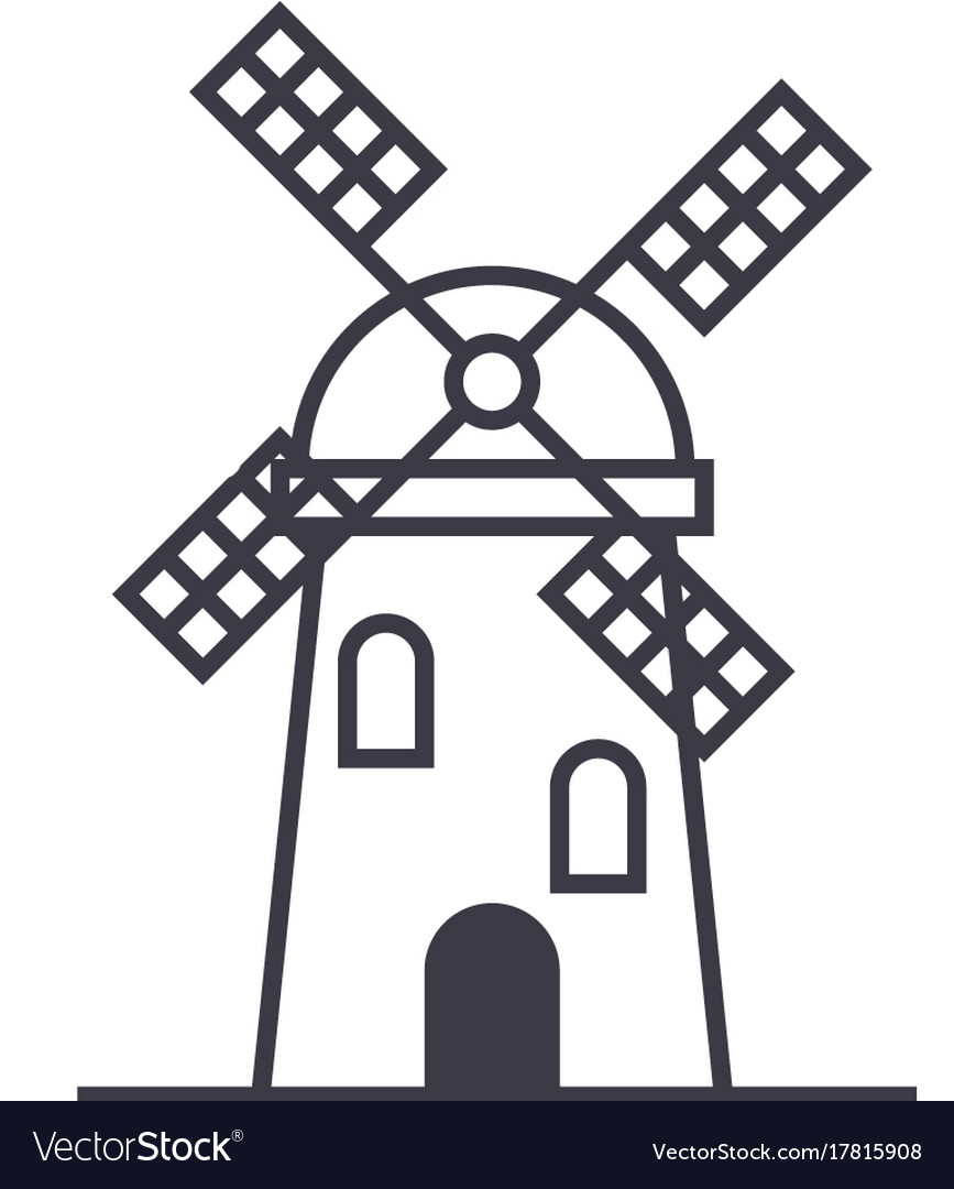 Windmill sign line icon sign