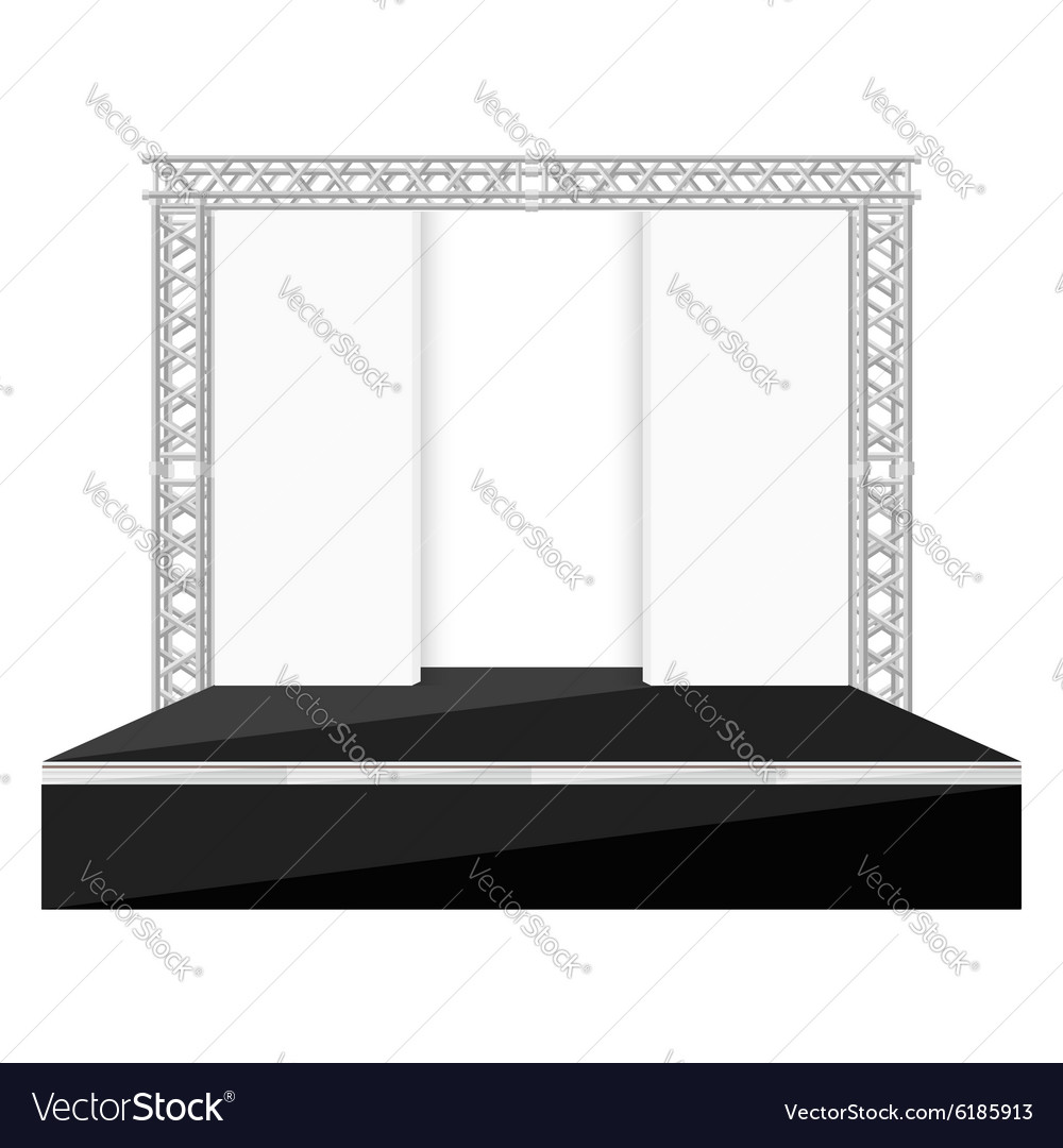 Black color flat style stage with scenes back