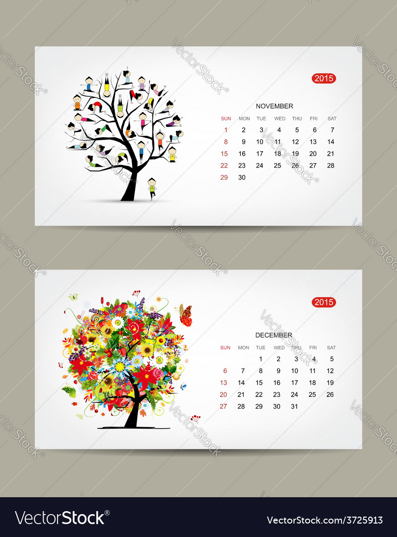 December Calendar Art : Calendar november and december months art vector image