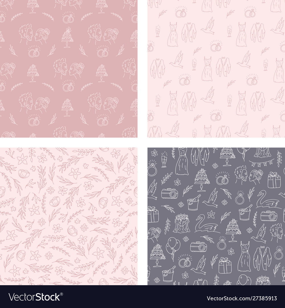 Doodle wedding seamless pattern with decorative