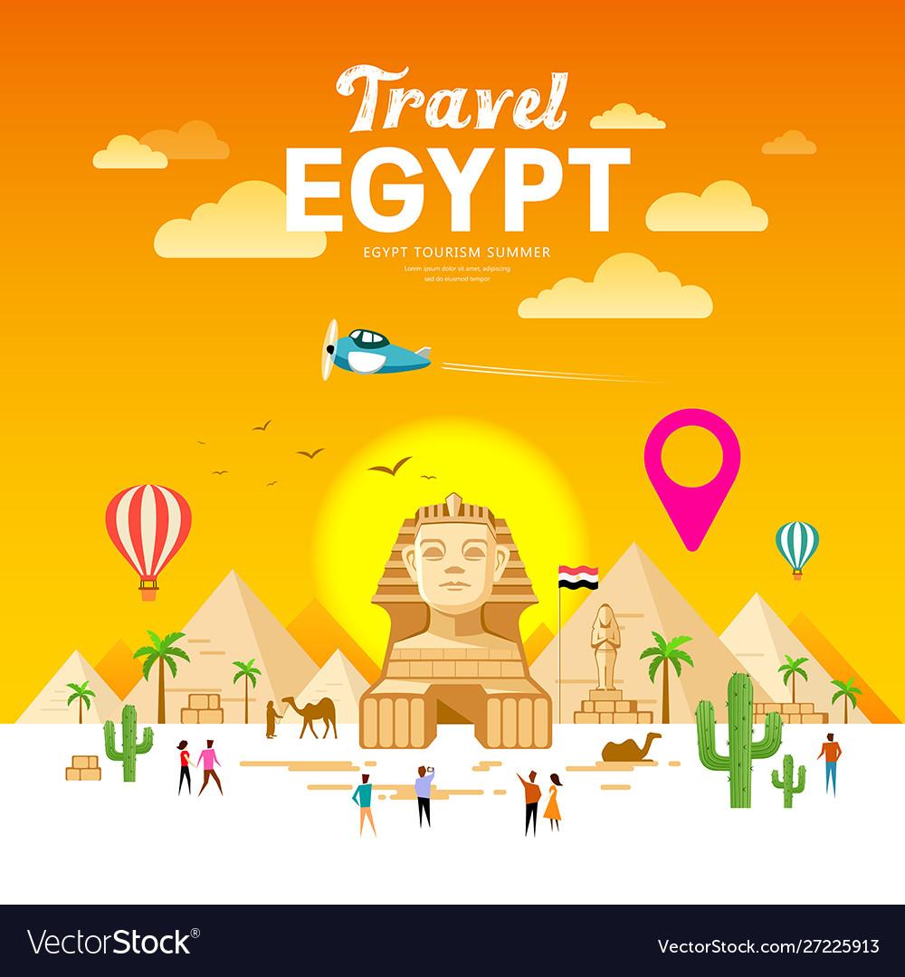 Egypt travel people pyramid design