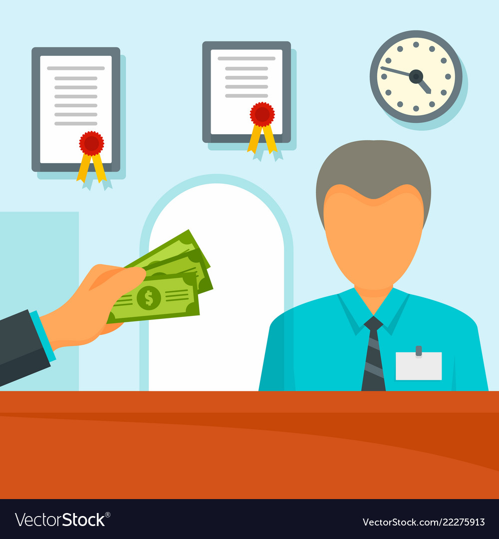 Give money bank manager concept background flat