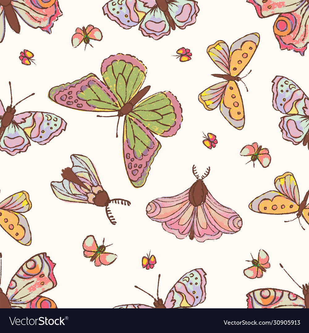 Hand drawn butterfly cute cartoon insect il