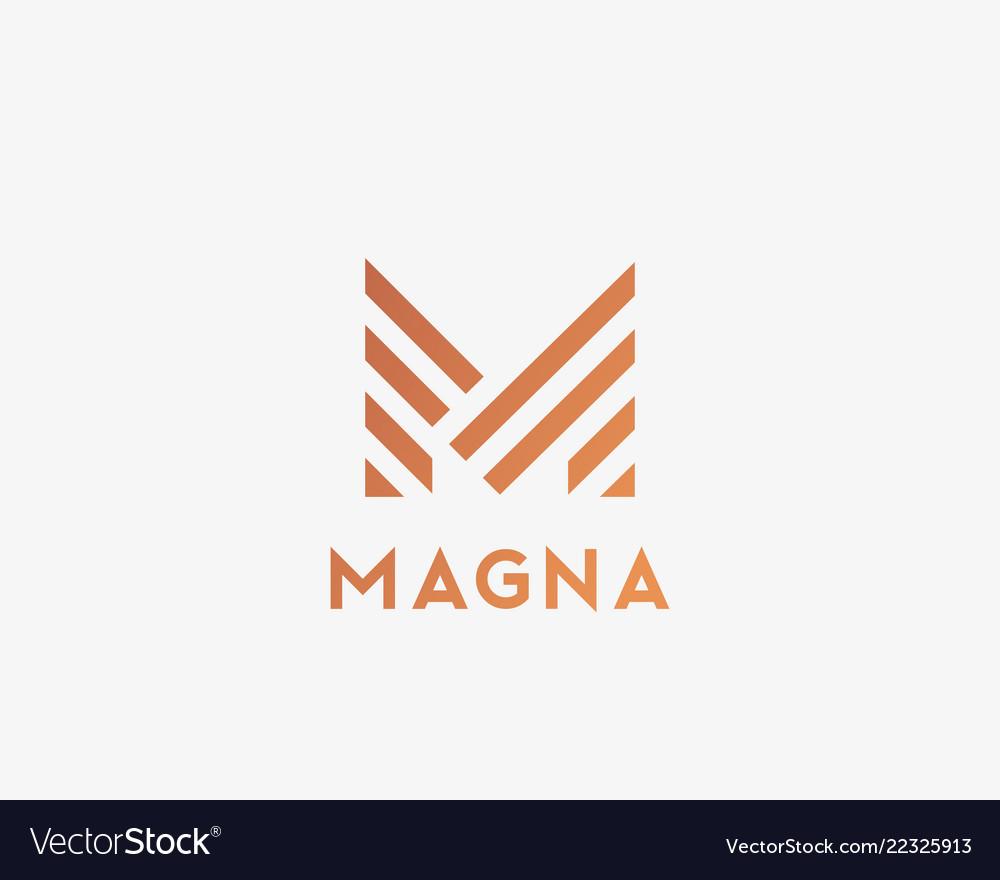 Letter m line logo design creative