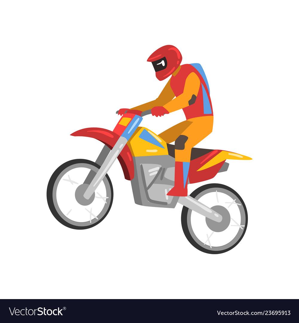 Motorcyclist driving motorcycle motocross racing