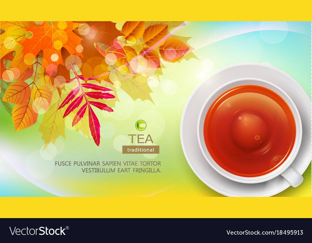Mug of black tea against the background of autumn
