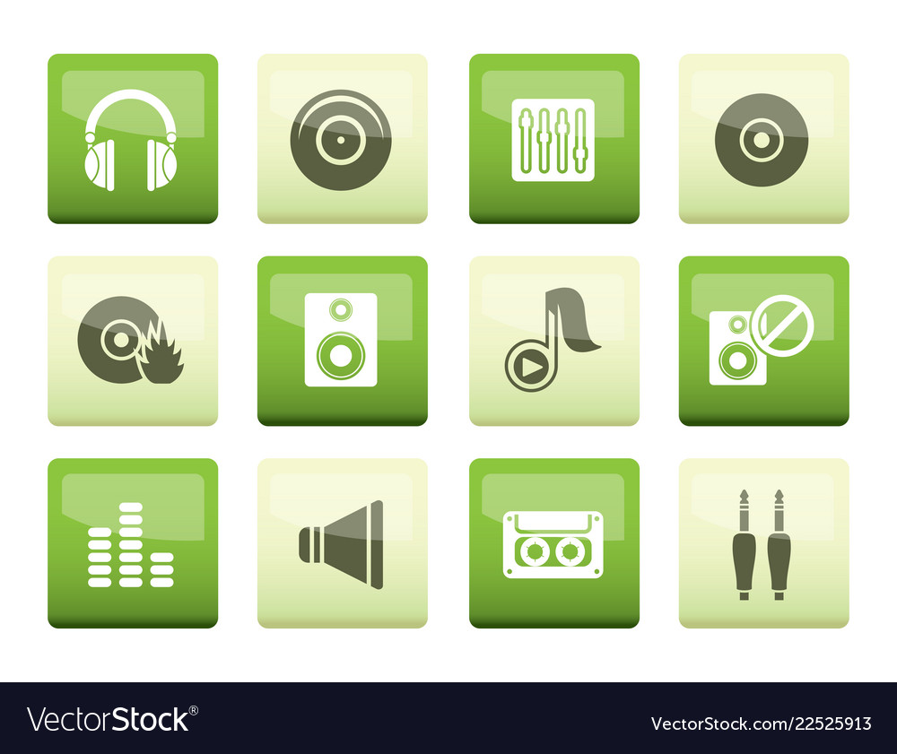 Music and sound icons over green background