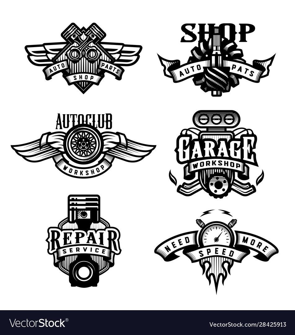 Set vintage monochrome auto emblems badges