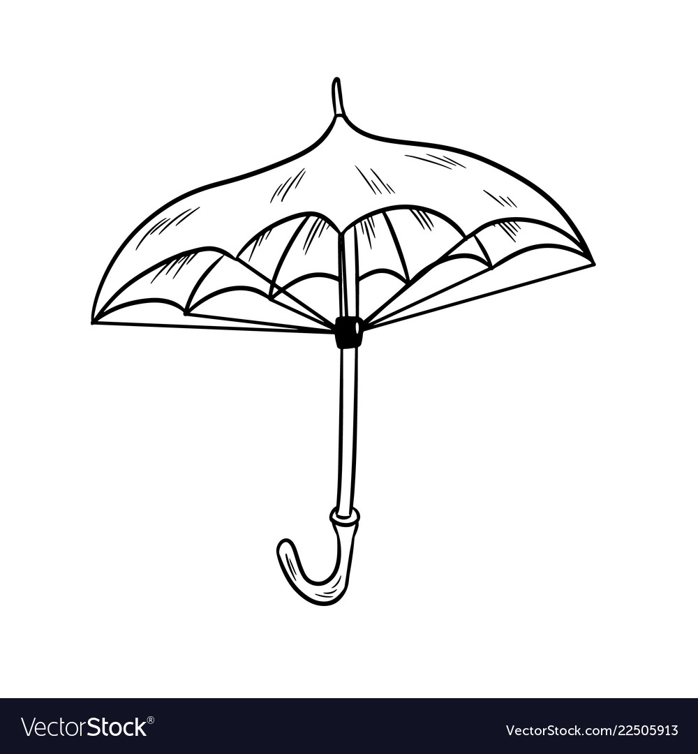 Umbrella sketch black and white doodle vector image
