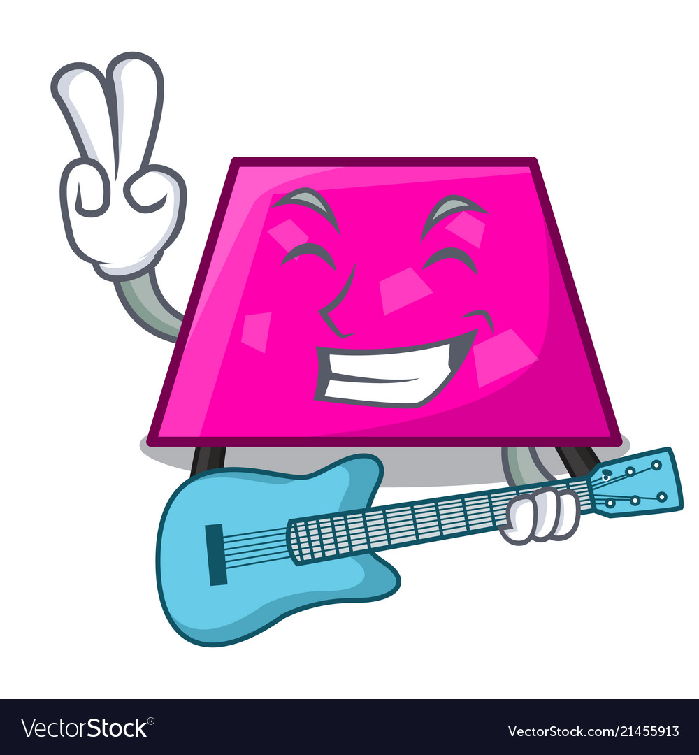 With guitar trapezoid mascot cartoon style