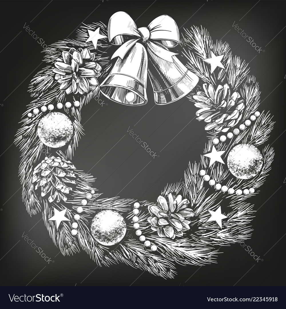 Christmas wreath symbol of christianity hand drawn