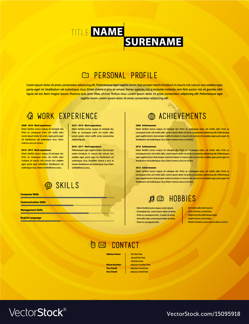 Creative simple cv template on yellow background