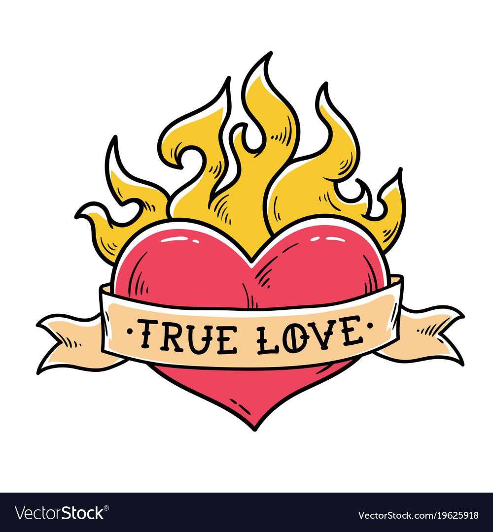 Flaming heart tattoo with ribbon true love