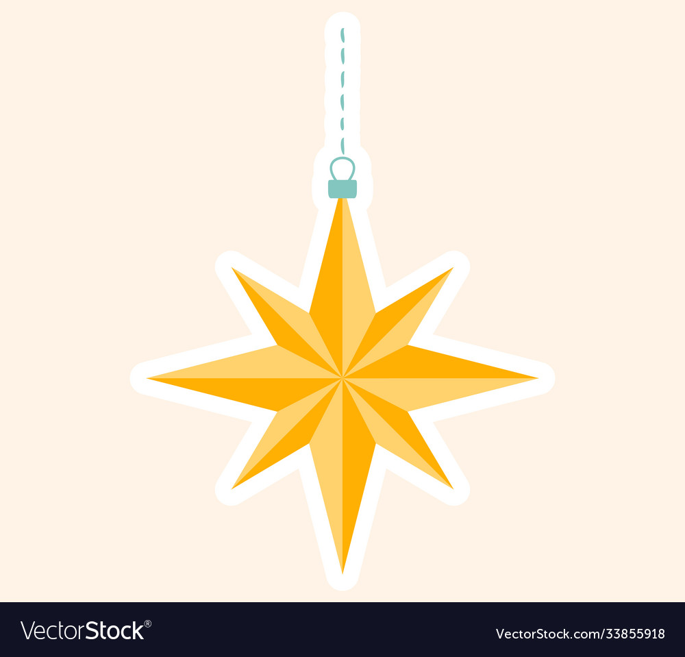 Gold star christmas decoration for tree