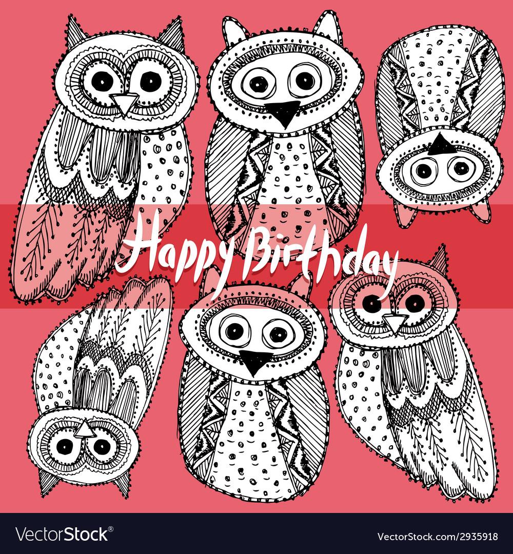 Happy birthday Decorative Hand dravn Cute Owl