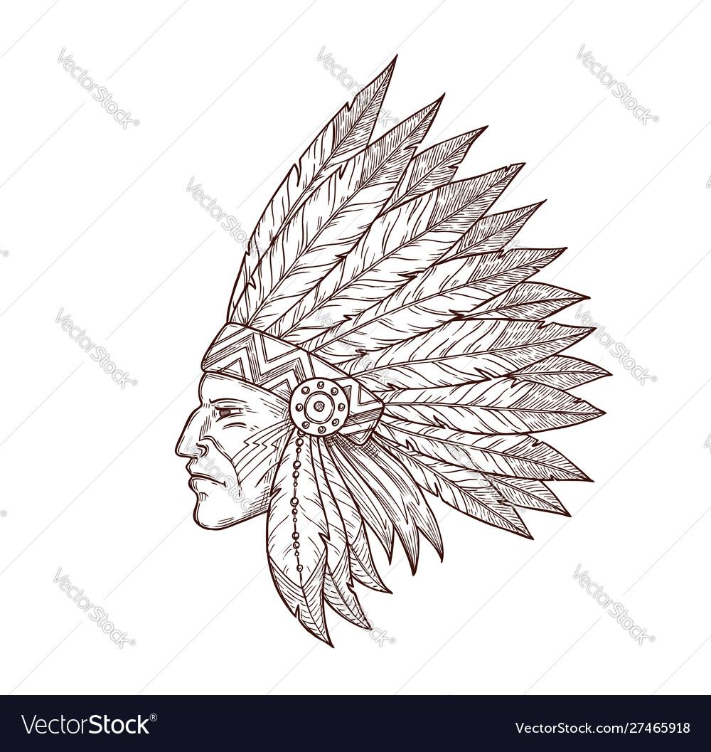 Indian chief head native american headdress sketch