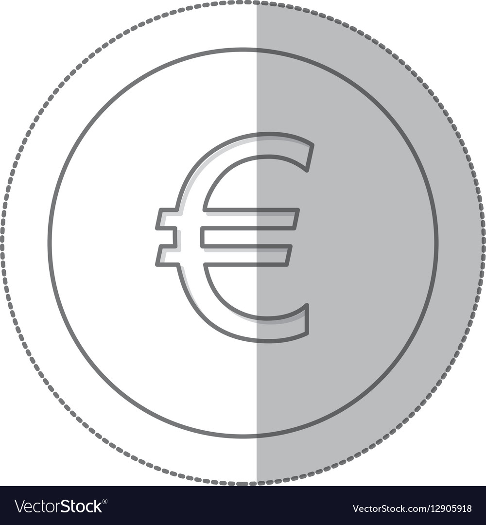 Middle shadow monochrome circle with currency