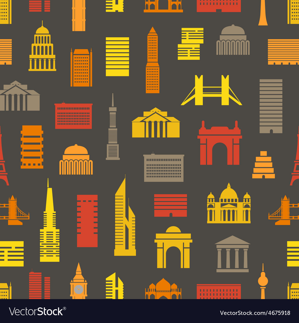 Modern city silhouettes seamless pattern
