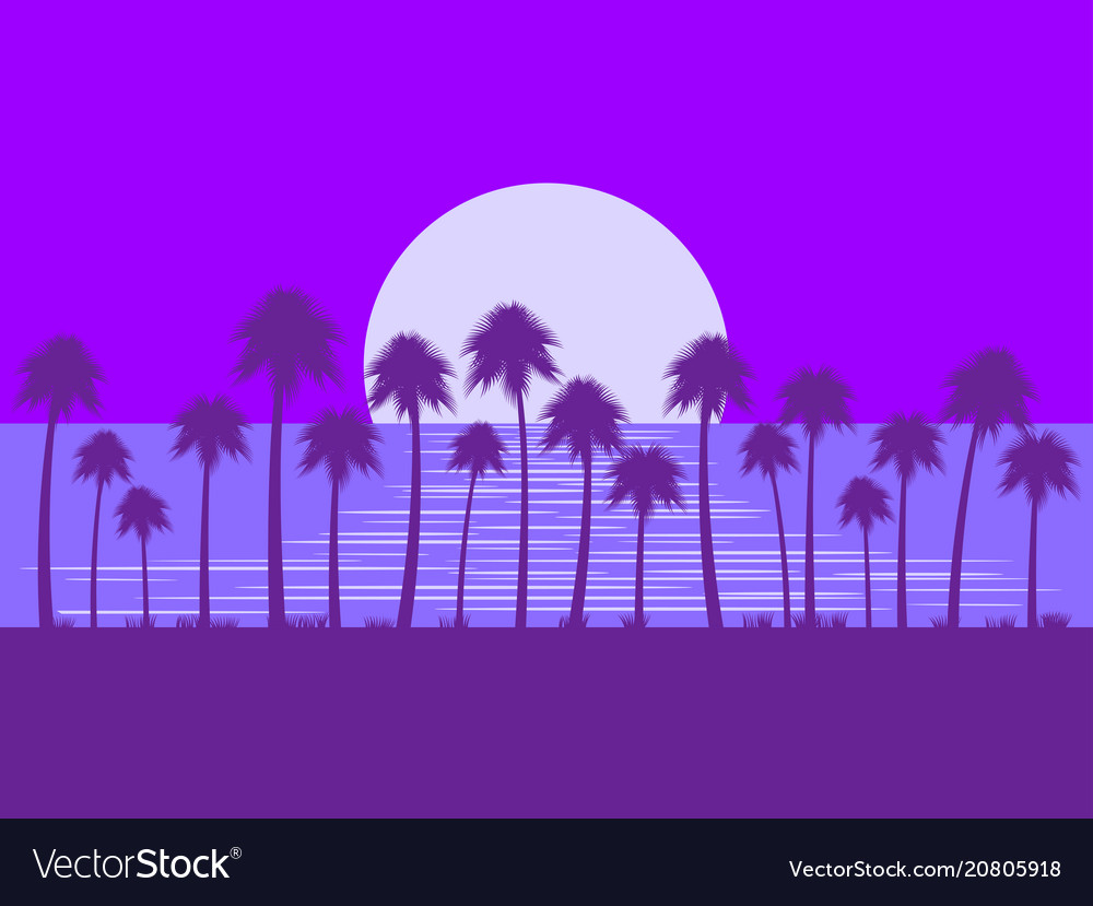 Night landscape with palm trees and moon glare