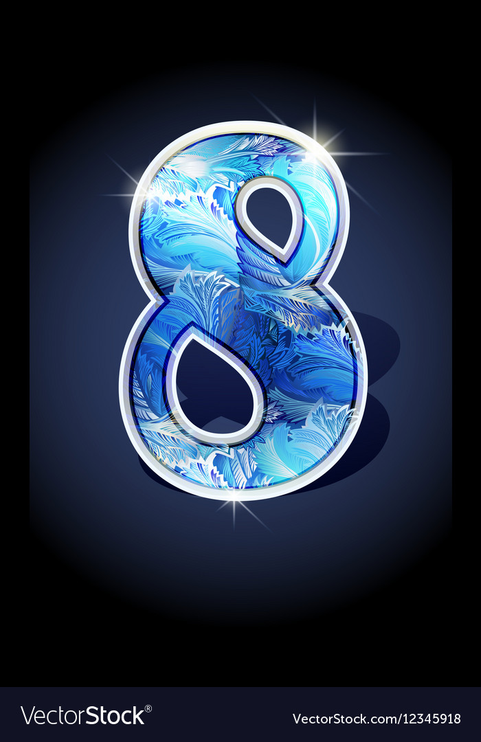 Number blue shine design