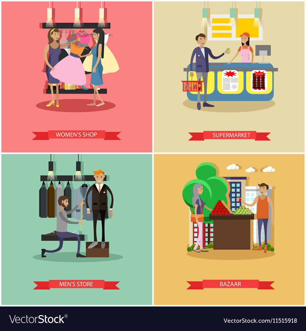 People shopping in a store concept posters