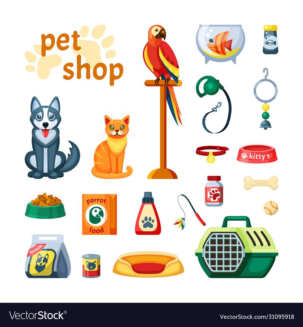 Pet set shop accessories for pets colored parrot