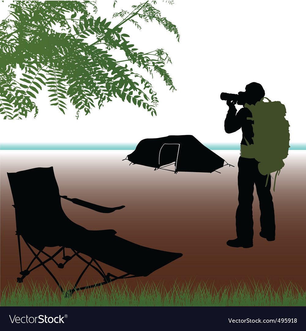 Photographer with camping
