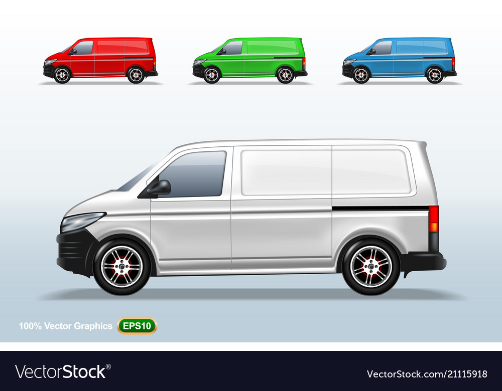 Set of different color delivery van template