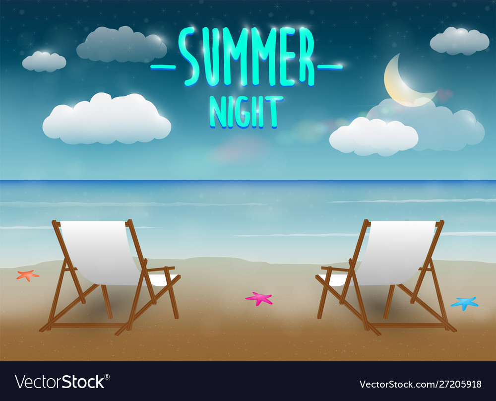 Summer night with a chair and beach sea background