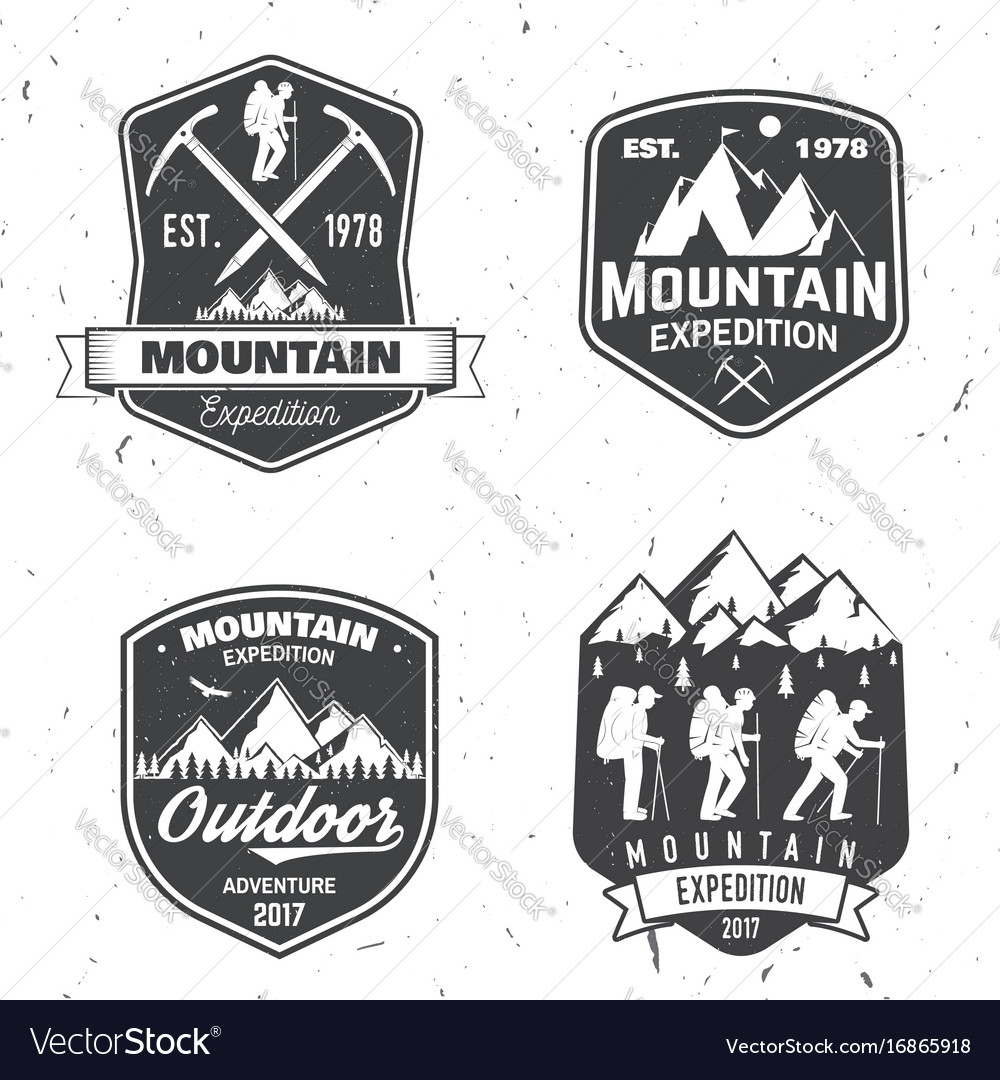 Vintage typography design with mountaineers and
