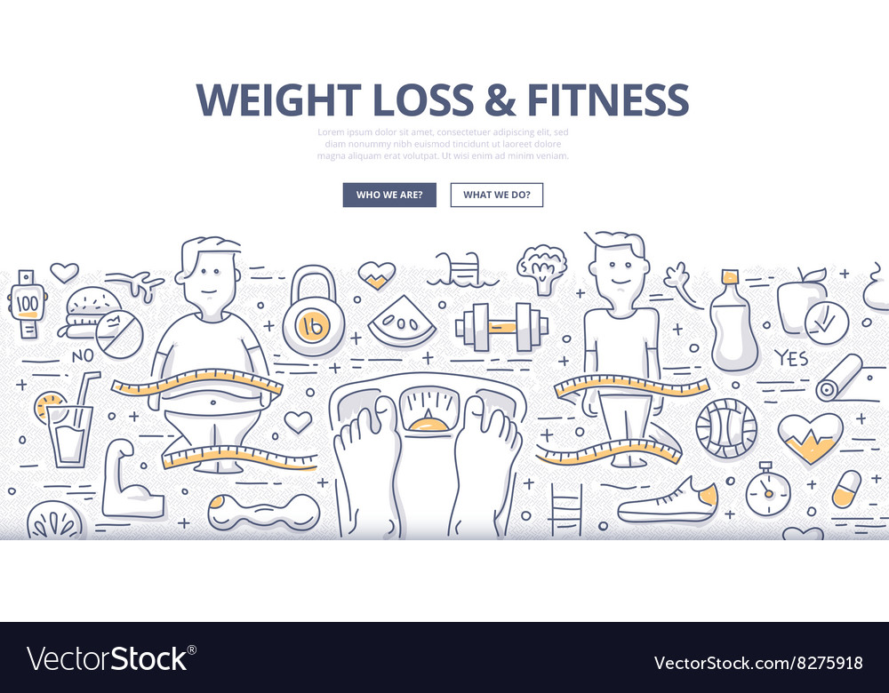Weight Loss Fitness Doodle Concept Royalty Free Vector Image