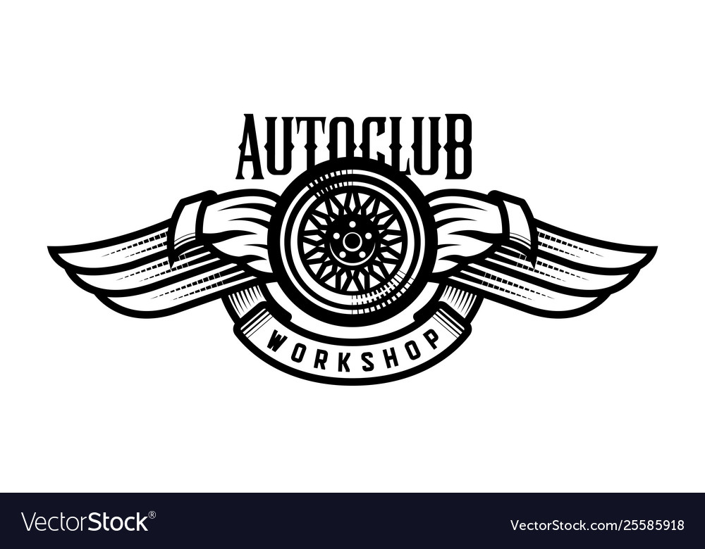 Wheel and wings auto logo emblem