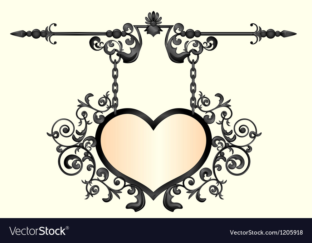 Wrought iron signboard in shape of heart vector image