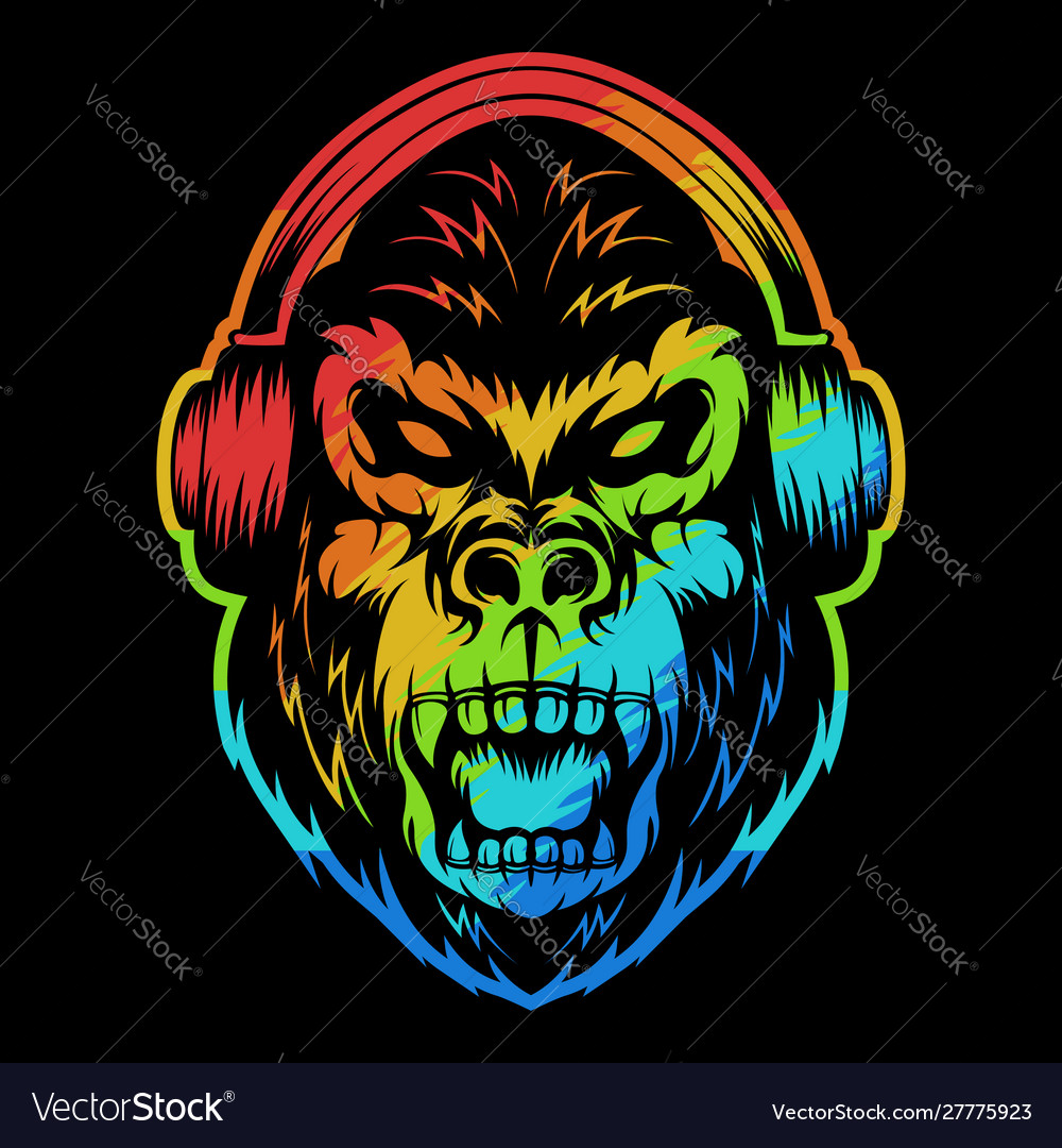 Angry gorilla headphone colorful