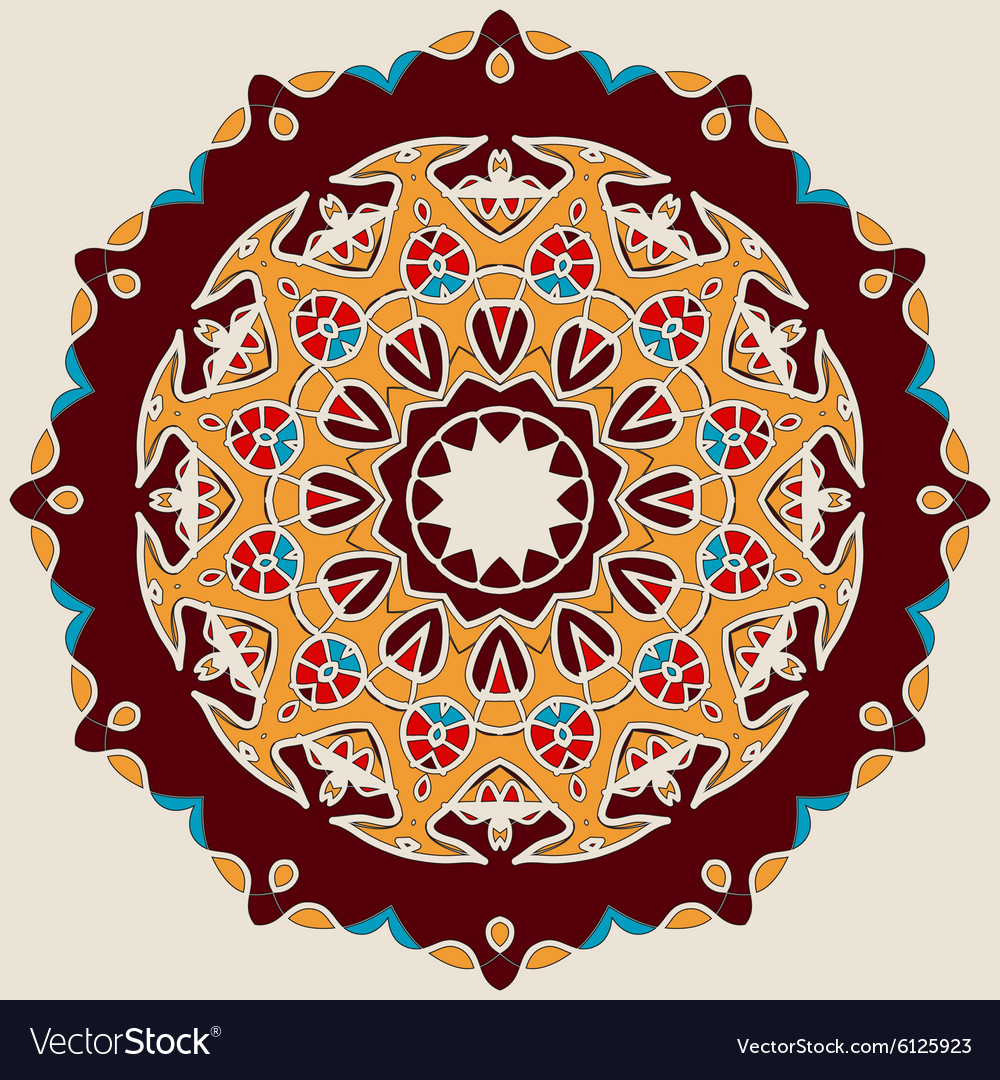Brown Mandala Stylized Oriental DEsign vector image