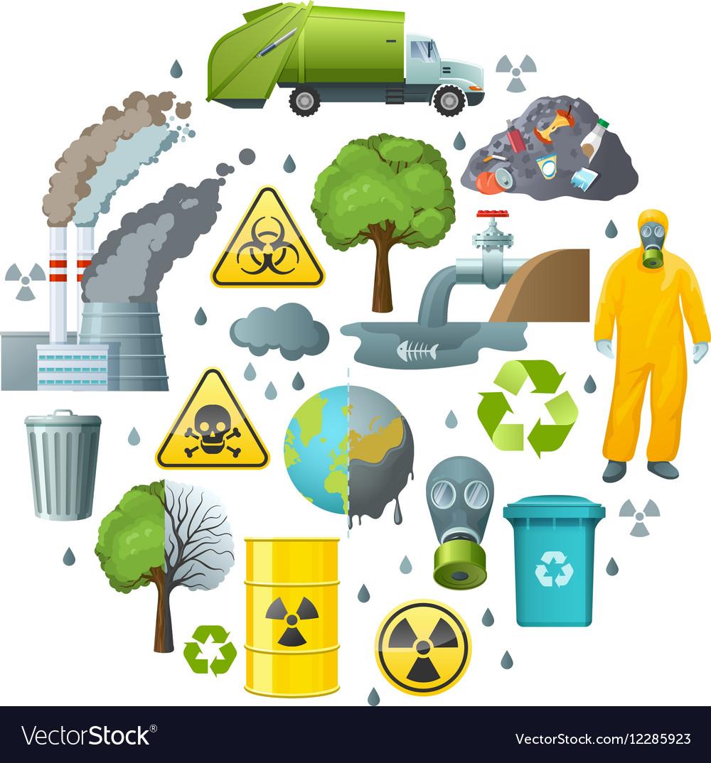 Environmental pollution circle composition vector image