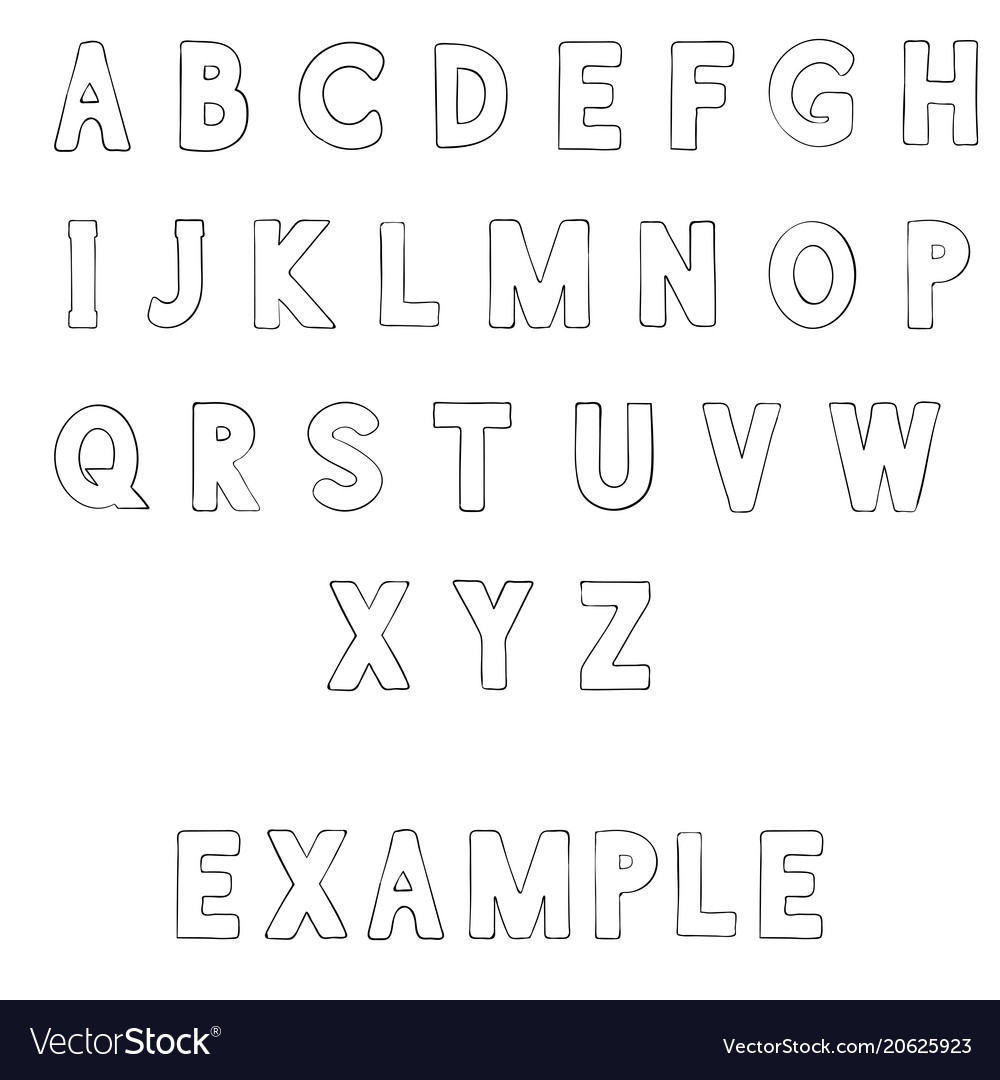 Font outline alphabet letters Royalty Free Vector Image