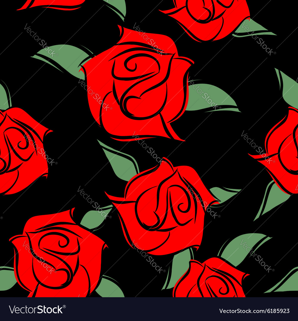 Red Roses on black background seamless pattern
