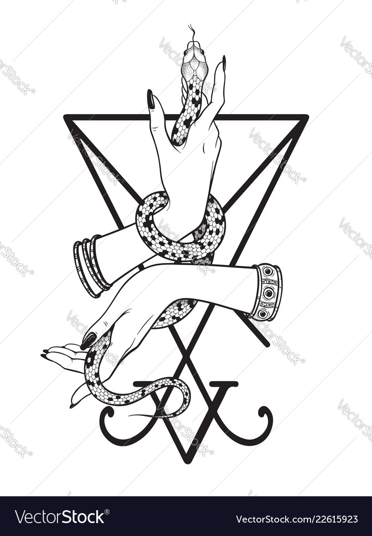 Serpent in female hands over the sigil of lucifer vector image