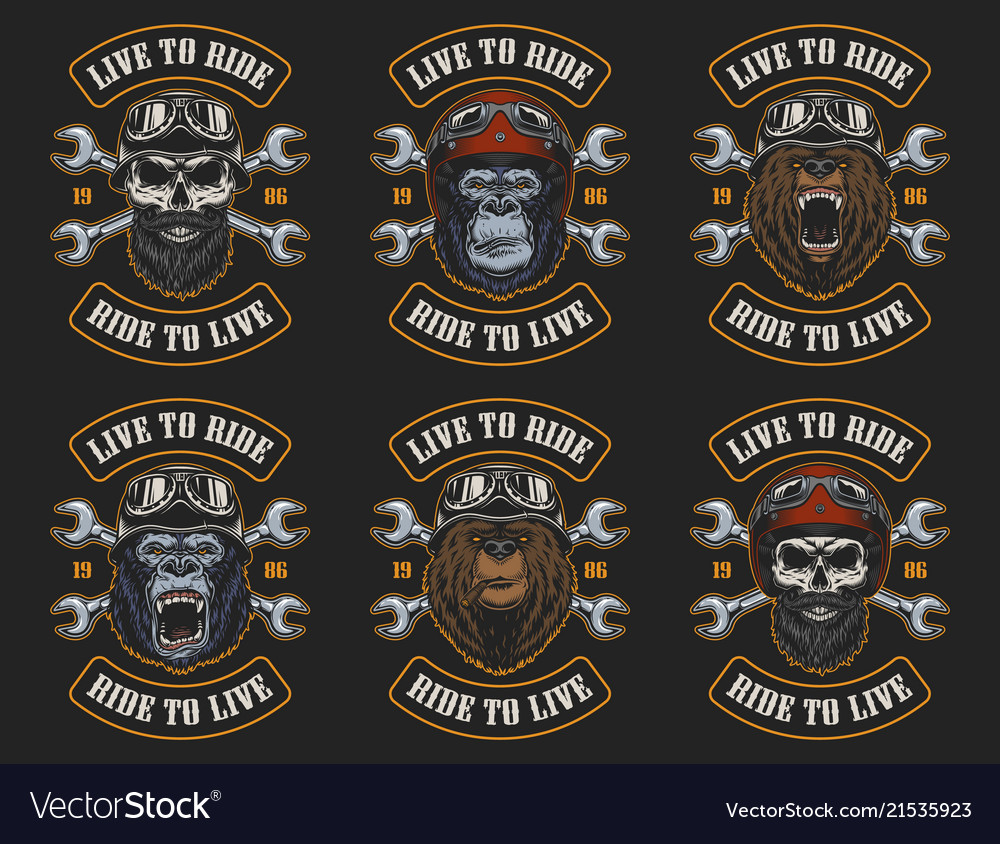 Set biker emblems vector