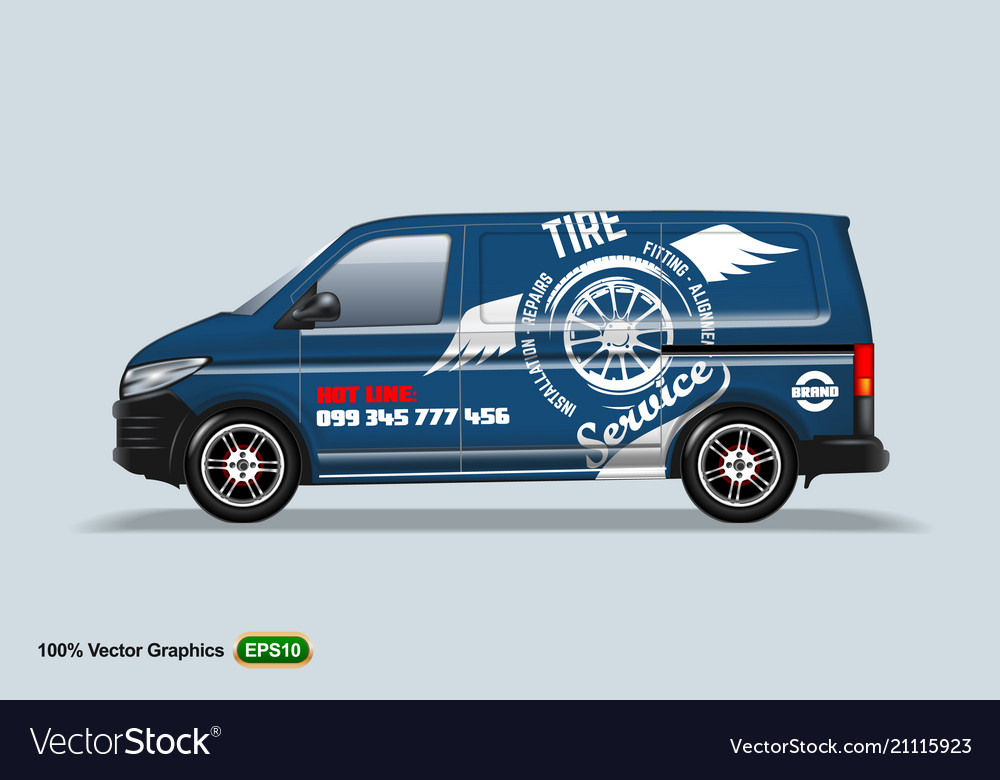 Tire service blue delivery van template with