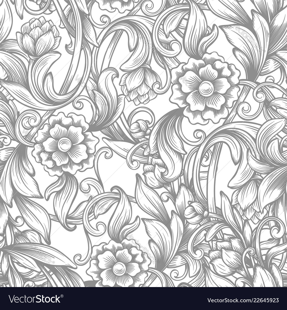 Vintage baroque seamless pattern