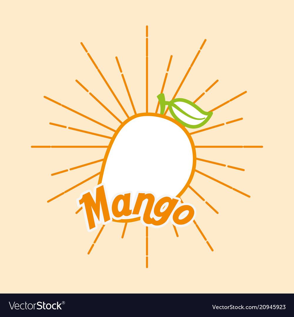Vintage style card fresh organic natural mango
