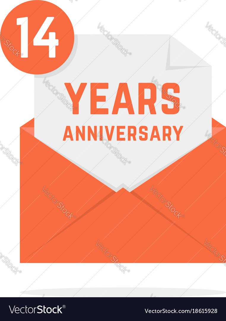 14 years anniversary icon in orange open letter