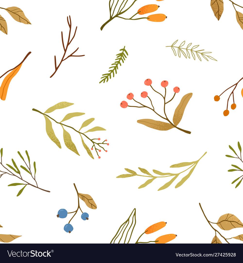 Autumn season plants flat seamless pattern